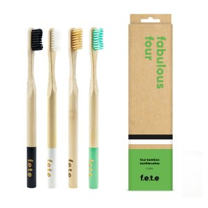 Firm bristles bamboo toothbrush set