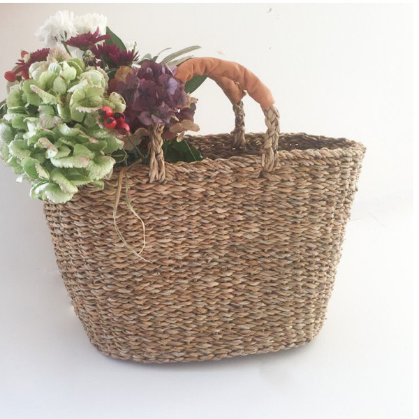 Turtle Bags Leather Handled Seagrass Basket